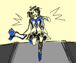 Japanese girl is running late for school