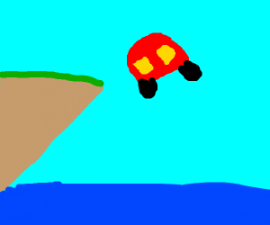 A Car jumping over the Ocean