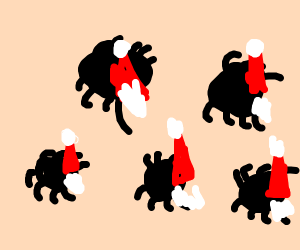 a bunch of spider santa's
