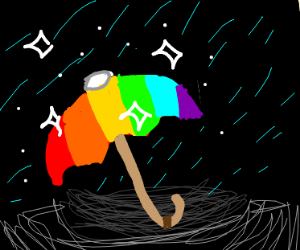 sparkling rainbow umbrella
