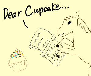 Horse writing to Cupcake