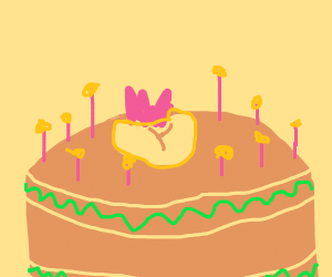 a peanut is the candle on a birthday cake