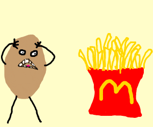 Potatoe's friends are turned into fries