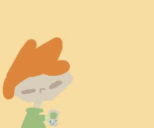 orange hair man on gameboy