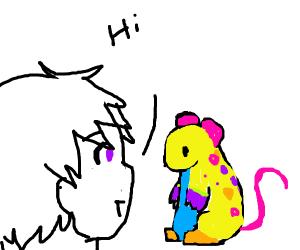 Guy greets a rainbow rat