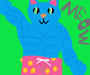 muscular cat in swimming shorts