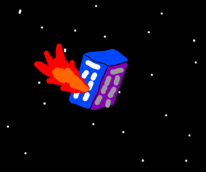 dr who's box, in space, spewing out flames