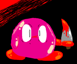 kirby with a bloody knife