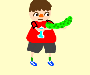 Animal Crossing villager with a pickle