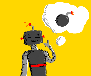 A robot thinking about a bomb