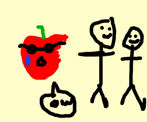 Very cool apple getting eaten in front ofkids