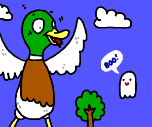 A giant duck is afraid of ghosts