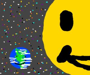 happy sun next to a tiny happy earth