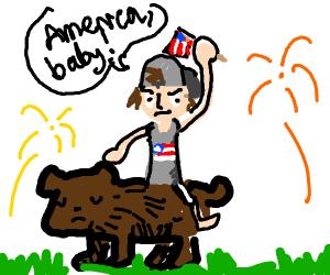 American Guy rides bear