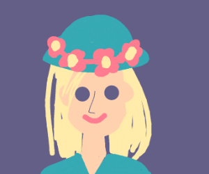 blond girl with flower hat