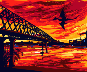 dragon flying over a bridge at sunset