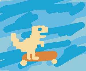 fat google chrome dinosaur on a skateboard