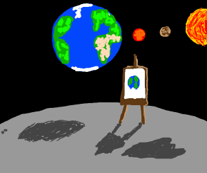painting of earth on the moon