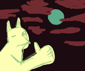 Wolf giving a thumbs up to the full moon.