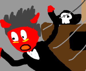 Satan being thrown off of a pirate ship