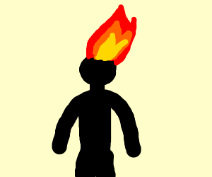 Silhouetted guy who's hair is on fire