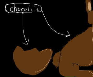 Chocolate bunny escapes from a chocolate egg