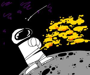 Astronaut peeing on the moon