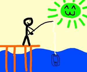 Guy is fishing for iphone