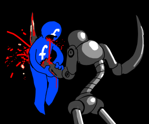 a robot kills facebook
