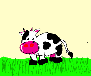cow with grass