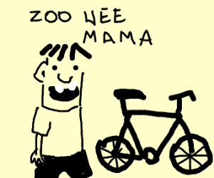 "rowley saying ""zoo wee mama"" next to a bike"