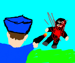 Comic of police officer gunning down a man