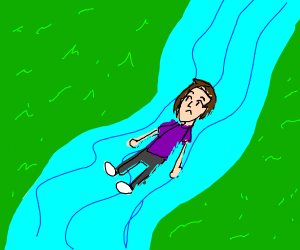 Man laying in a river