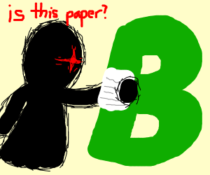 Spoopy dude discovers paper in a b