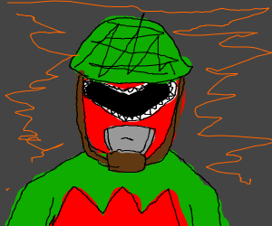 The red power ranger in a war