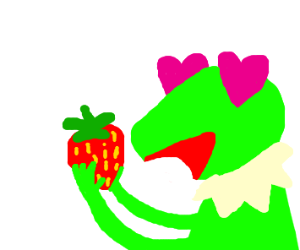 Kermit in love with a strawberry