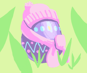Cute little easter egg with winter clothes