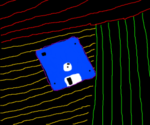 Floppy disc with a rad 80s background