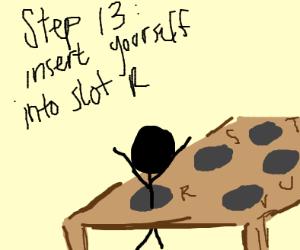 Step 12: insert peg G into slot Q