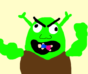 Shrek with a man in his mouth