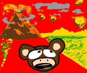 Monkey fleeing volcanic eruption