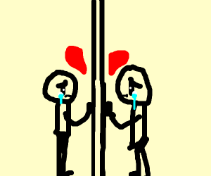 Lovers separated by glass