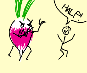 Giant turnip tries to attack a stickman