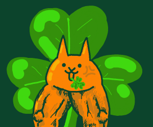 ginger cat with shamrocks in their mouth