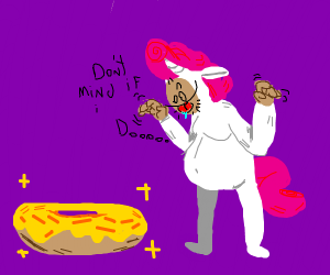 Unicorn man excited about an elongated donut