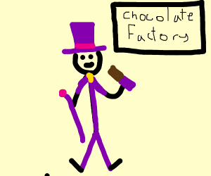 Willy Wonka holding up a chocolate bar