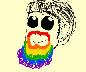 Guy with a rainbow beard.