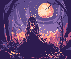 beautiful girl in a forest at night full moon