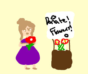 Cute chubby girl donates flowers