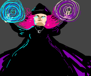 very powerful witch with pink hair